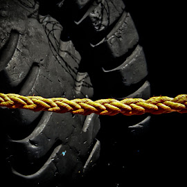 harbour tires as side buffer  by Magdalena Wysoczanska - Artistic Objects Other Objects ( rope, harbour, tires, yellow, black )