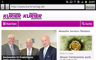 Screenshot of KURIER VERLAG