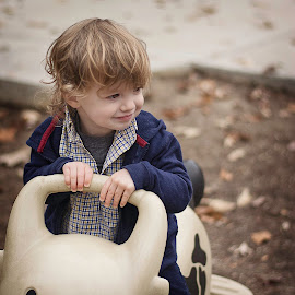 happy little guy at the park by Megan Boling - Novices Only Portraits & People ( fall leaves, fall colors, park, little boy, children, children candids, toddler, fall day )