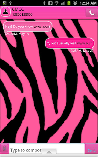 GO SMS - Light Pink Zebra