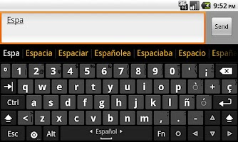 Screenshot of Spanish dictionary (Español)