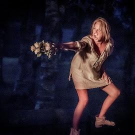Fire and Ice by Jørn Lavoll - Nudes & Boudoir Boudoir ( bouquet, bench, anger, woman, night, blue, orange. color,  )