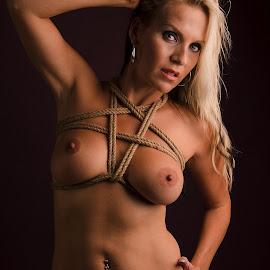 Pentagram by Tomas Fensterseifer - Nudes & Boudoir Artistic Nude ( blonde, nude, low key, bondage )