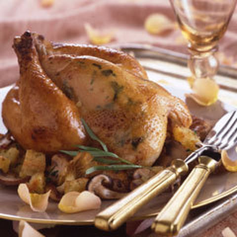 Roasted Cornish Hens With Double Mushroom Stuffing
