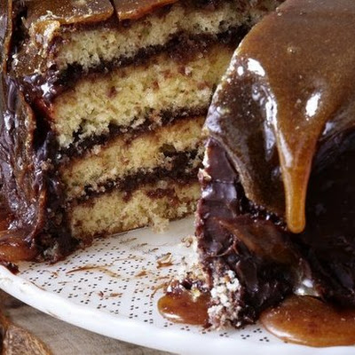 Yellow Cake with Chocolate Frosting and Caramel Top