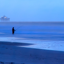 Sunrise Fishing by Carol Plummer - Novices Only Landscapes ( blue, pier, ocean, fishing, beach, sunrise, fisherman,  )