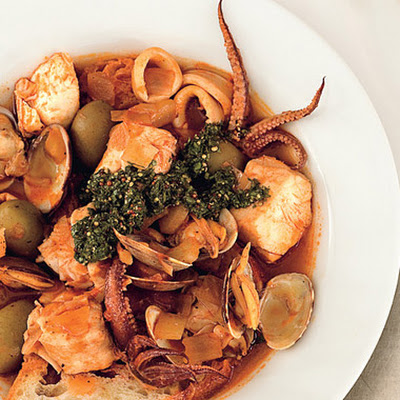 Clam and Calamari Seafood Stew with Salsa Verde