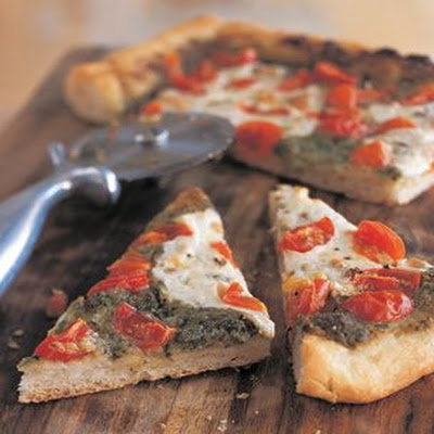 Pesto and Cherry Tomato Pizza
