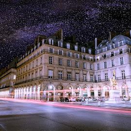 Paris by Velizar Simeonov - City,  Street & Park  Skylines ( lights, nobody, paris, midnight, jana, colorful, stars, romantic, night, france, d'ark, milky way )