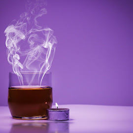 Steam and drink by Mason Bletscher - Food & Drink Alcohol & Drinks ( calm, water, candle, beer, purple, drink, glass, fire, smoke, steam )