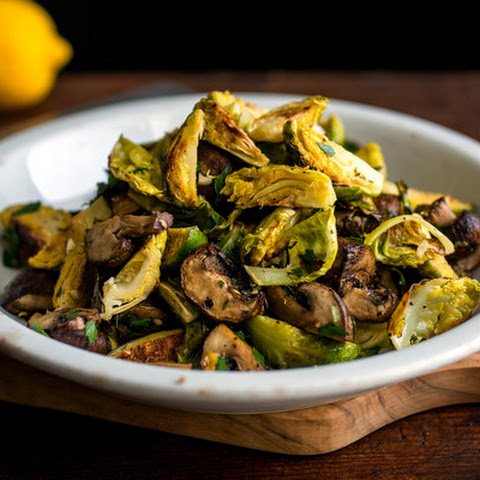 Roasted Brussels Sprouts and Mushrooms With Gremolata and Quinoa