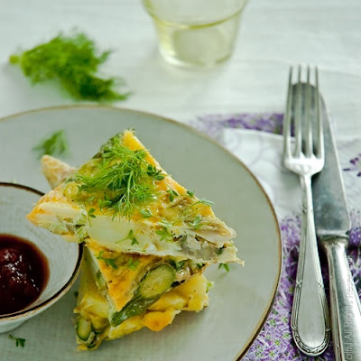 Spanish Tortilla with Asparagus, Fennel and Cress