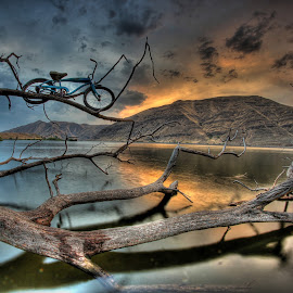 Orange Glow by Eric Demattos - Transportation Bicycles ( reflection, mountain, sunset, blue bike, river )