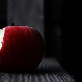 Just a Bite by Rendan Lovell - Food & Drink Fruits & Vegetables ( contrast, red, wood, bench, bite, utah, color, apple,  )
