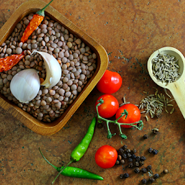 Lentils by Dipali S - Food & Drink Ingredients ( cuisine, aromatic, diet, appetizing, pepper, tempering, nature, fresh, protein, ingredient, vegetarian, green chili, healthful, indian, dal, delicious, health, cumin seeds, edible, lentils, tasty, nutrition, pulses, food, background, healthy, eat, freshness, harvest, vegetable, natural )