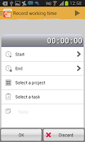 Screenshot of FINARX Timesheet Time tracking