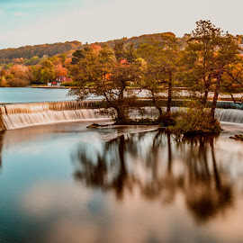 Belper Weir by Stuart Lilley - Landscapes Waterscapes ( water, reflection, weir, reflections, rivers, river,  )