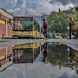 Urban Life! by Jesus Giraldo - City,  Street & Park  Street Scenes ( concept, reflection, bus, colors, street, walk, people, city,  )
