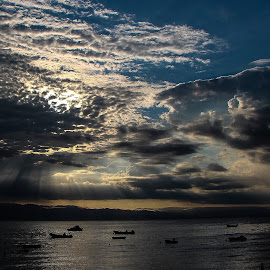 Sky by Goran Matejin - Landscapes Cloud Formations ( water, clouds, reflection, sky, boats, sea, ocean, cloud formation,  )