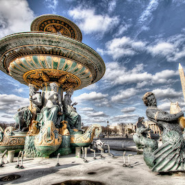 fountain & obelisk - paris by Ben Hodges - Buildings & Architecture Statues & Monuments ( paris, europe, park, hdr, fountain, obelisk, france, travel, garden )