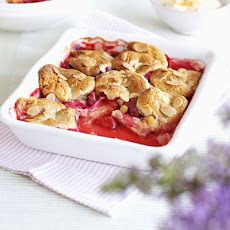 Rhubarb & Strawberry Cobbler With Orange Cream