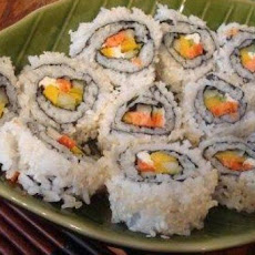 Smoked Salmon and Mango Sushi with Citrus-Soya Dipping Sauce