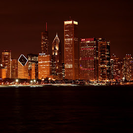 Chicago Night Skyline - Closeup shot. by Sarita Shetty - City,  Street & Park  Skylines ( skyline, night, chicago, closeup,  )