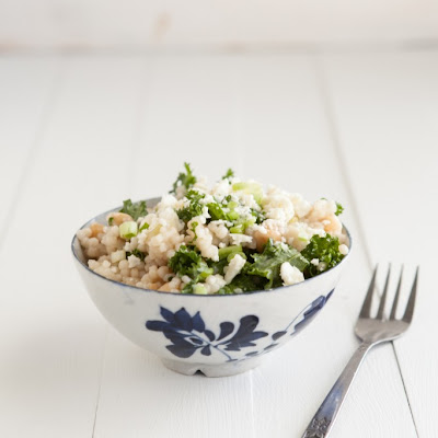 Kale and Couscous with Green Garlic Dressing
