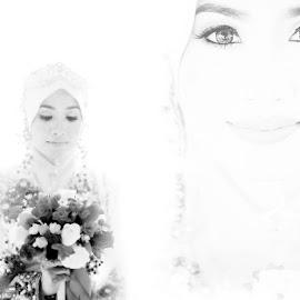Mencari Cinta by D'ding Shah - Wedding Bride ( product, potrait, blackandwhite, fashion photography, bride )