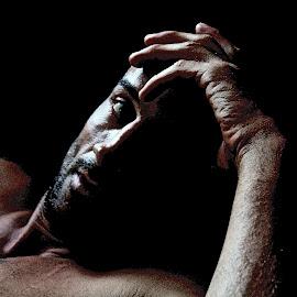 i am by Magdalena Wysoczanska - People Portraits of Men ( potrait, face, monochrome, thinking, moody, dark background, man )