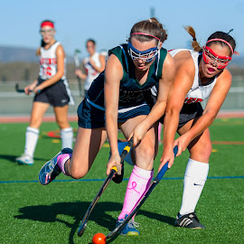 Move over, coming through. by Kevin Mummau - Sports & Fitness Other Sports ( girls, physical, ball, pink, field hockey )