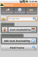 Screenshot of Indian Rail Info App