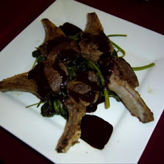 Bitter Chocolate Lamb Cutlets With Sauteed Spinach