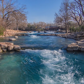 Triple Threat by Marc Mulkey - City,  Street & Park  City Parks ( rio, waterfalls, park, blue, vista, texas, trees, san marcos, rocks, river )