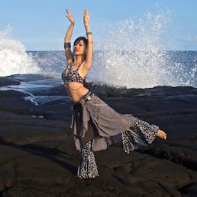 Aida: Tribal Belly Dancer by Venetia Featherstone-Witty - People Professional People ( belly dance, black lava shore, tribal belly dance, ocean, female belly dancer, surf, dance, hawaii, , Free, Freedom, Inspire, Inspiring, Inspirational, Places, People, Emotion )