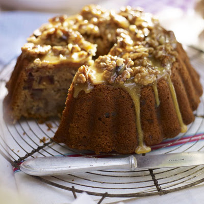 Banana Date Cake With Walnut & Honey Glaze