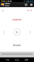 Screenshot of Spanish words with audio Lite