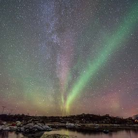 Milkyway auroras by Benny Høynes - Landscapes Starscapes ( milkyway, winter, stars, aurora borealis, sea, norway )
