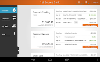 Screenshot of 1st Source Bank Mobile