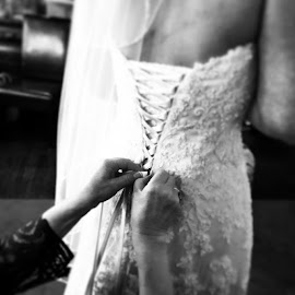 Lacing the brides dress! by Julie Dabour - Wedding Getting Ready ( weddings, weddingdress, weddingphotography, beautiful, bride, gorgeous, motherofthebride )
