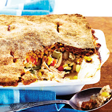 Turkey Pot Pie with Pumpkin Crust