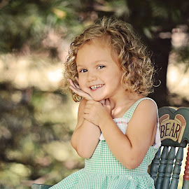 Say Cheese! by Ali Reagan - Babies & Children Children Candids ( model, little girl, nature, smile, outside, rocking chair )