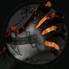 taken by Dietmar Kuhn - Digital Art Abstract ( abstract, hand, map, dark, fire )