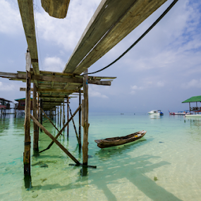 Sky Bridge on Mabul Island by Mahdi Hussainmiya - Landscapes Travel ( boats, blue skies, sea, ocean, travel, island, borneo )