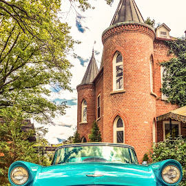 old blue by Esther Lane - Transportation Automobiles ( car, blue, castle, antique, convertible,  )