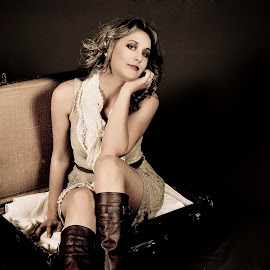 Out of the box by Simply Sensational - People Portraits of Women ( studio, liza bronner, model, sepia, suitcase, singer )
