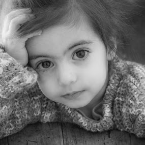 La Penseuse by Nathalie Gemy - Babies & Children Child Portraits ( child, black eyed, little girl, black and white, cute, portrait )