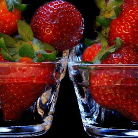 Strawberries in the glass by Iva Aviana - Food & Drink Fruits & Vegetables ( succulent, fruit, juicy, mellow, strawberry, close up, tasty, sweet, red, vitamins, fresh, food, outdoor, healthy, summer, vegetarian, garden )