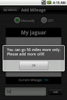 Screenshot of Oil Change Reminder