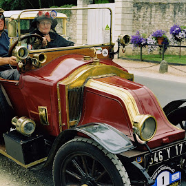 Somewhere in France by Vladimir Firsov - Transportation Automobiles ( old car, old time, south, france, people,  )